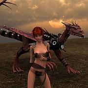 Elf warrior girl can fly a dragon